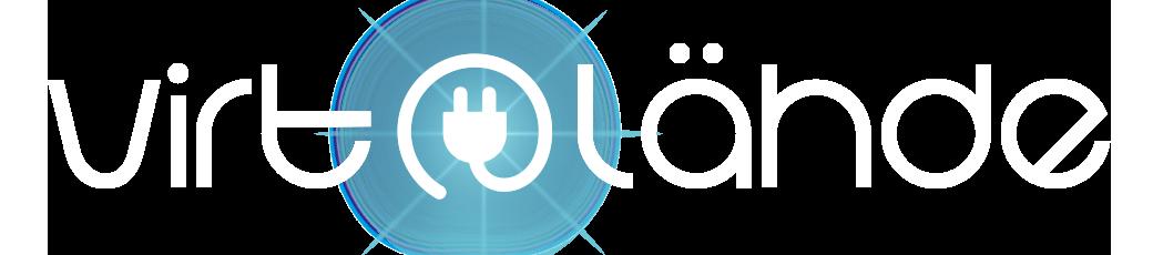 Virtalähde-hankkeen logo. Logo on valkoinen ja virta-sanan A-kirjain on @-merkin kaltainen A, mutta keskellä on virtapistoke.